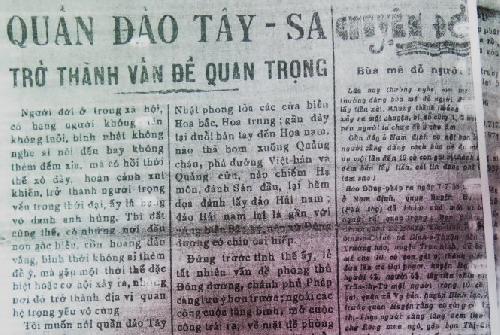 Cụ Huỳnh, báo Tiếng Dân và chủ quyền biển đảo