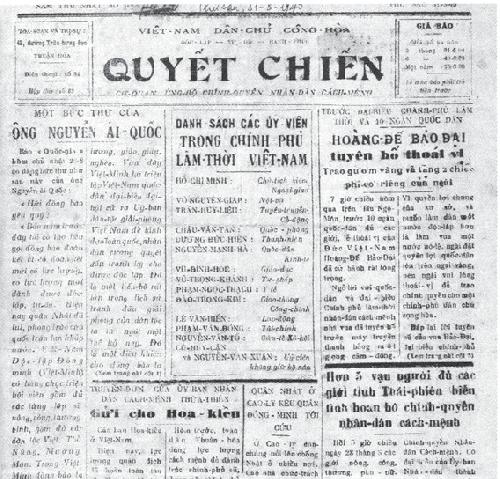 Một số tư liệu về Hồ Chủ tịch với báo giới trên báo Quyết Chiến của Huế