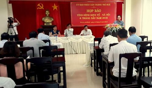 Thành phố Huế: Họp báo về tình hình thực hiện nhiệm vụ kinh tế - xã hội 6 tháng đầu năm 2018