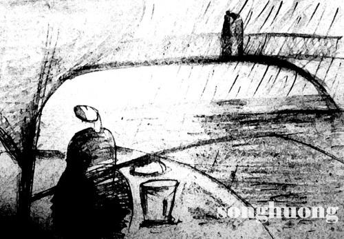 Khi họ hôn nhau mưa bắt đầu rơi trên mặt sông