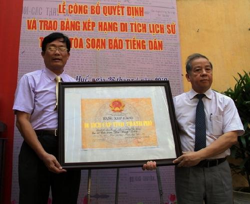 Trụ sở Tòa soạn Báo Tiếng Dân được công nhận là di tích cấp tỉnh.
