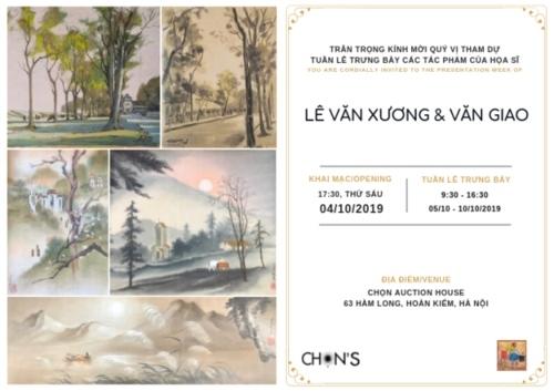 Tuần trưng bày tranh của họa sĩ Văn Giao và Lê Văn Xương