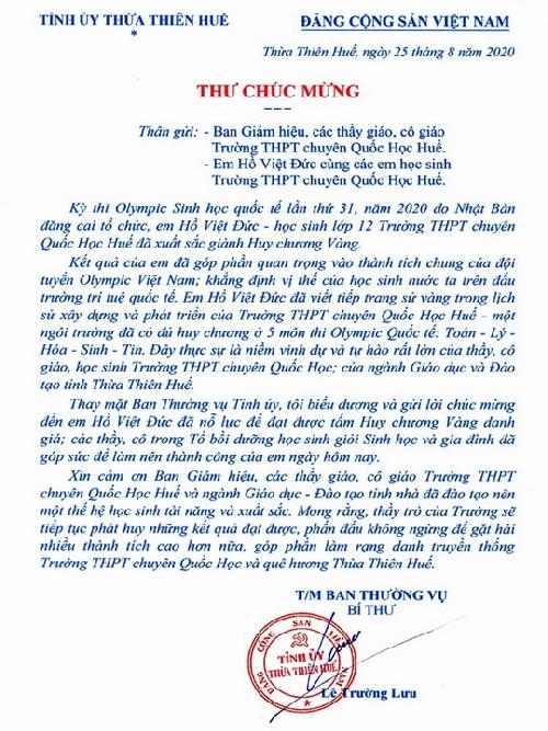 Bí thư Tỉnh uỷ Lê Trường Lưu gửi thư chúc mừng học sinh đạt Huy chương vàng Olympic sinh học quốc tế lần thứ 31